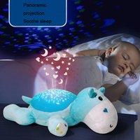 bebekler için gecelik hafif oyuncaklar toptan satış-Bebek LED Peluş Doldurulmuş Hayvanlar Oyuncaklar Renkli Işık Ile Uyku Gece Lambası Projektör Işık Müzik Yıldız Işık Bebek Oyuncakları
