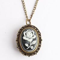 Wholesale rose pocket watch - Bronze Cartoon Rose Flower Quartz Pocket Watch Necklace Pendant Women Men's Gifts Xmas #92702