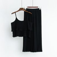 Wholesale womens sexy yoga pants resale online - O Neck Summer New Women Sexy Lotus Leaf Spaghetti Tops Pants Pleated Chiffon Suits Womens Piece Sets Clothes Girls Tracksuits