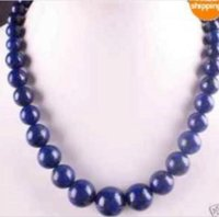 ingrosso perline di lapis 12mm-Collana con perle tonde naturali 6-12mm di lapislazzuli 18 ''