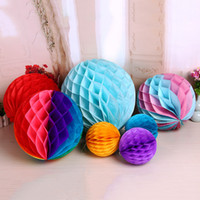 Wholesale honeycomb paper decorations - 6 inches of Ball honeycomb paper Pom Pom lantern ball wedding decoration birthday party outdoor decoration supermarket