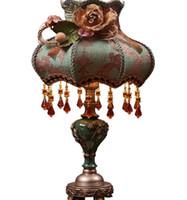 mesas de noche vintage al por mayor-Lámpara de mesa clásica de cristal, tela ligera vintage retro estilo de palacio europeo, lámpara de mesa, lámpara de mesa para sala de estar, dormitorio, cama LLFA