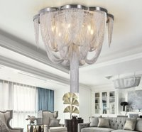 Wholesale chain hanging chandelier - Aluminum Chain Light Chandelier Lustres Lamp Post Chain Illumination Hanging Lighting for Living room