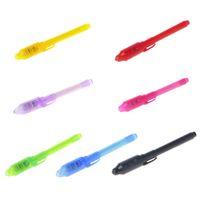 caneta de tinta invisível luz preta venda por atacado-1 PCS Escritório Escola Desenho Marcadores Mágicos 2 Em 1 UV Black Light Combo Papelaria Criativa Caneta de Tinta Invisível Marcador