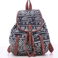 Wholesale Bookbags Women - bookbags for School Drawstring Bag Animal Designer back packs Elephant Printing Backpacks Canvas Rucksack Female Travel L834