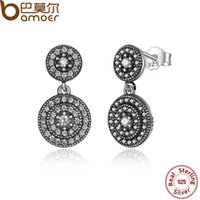 Wholesale sterling silver drop earings - 925 Sterling Silver Radiant Elegance Stud Earrings Clear CZ Crystals Surrounded Ancient Silver Women Drop Earings