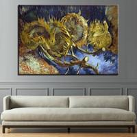 ingrosso stampe di girasole stampa-Dipinti su tela Home Decor Wall Art 1 pezzo di girasole di masterizzazione Poster HD stampe Impressionismo Immagini per soggiorno Quadro
