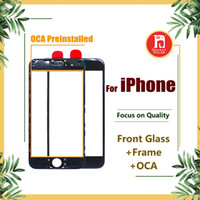 Wholesale bezel frame - Front Touch Screen Panel Outer Glass Lens + Cold Press Middle Frame Bezel + OCA Installed for iPhone 5s 5c 6 6s 7 8 plus