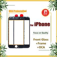 iphone 5s vorderseite großhandel-Front-Touchscreen-Panel - Außenglaslinse + Mittlere Rahmenblende für Kaltpressung + OCA für iPhone 5s 5c 6 6s 7 8 plus