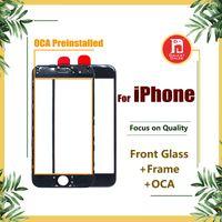 iphone 6s oca toptan satış-Ön Dokunmatik Ekran Paneli Dış Cam Lens + Soğuk Pres Orta Çerçeve Çerçeve + OCA iPhone 5 s 5c 6 6 s 7 8 için Yüklenen artı