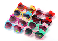 Wholesale wholesale plastic bow supplies - Children Girls Boys Sunglasses Kids Beach Supplies UV Protective Eyewear Baby Fashion cute bow cat Sunshades Glasses