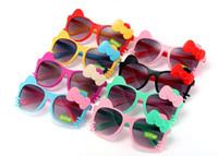 gözlük için bop toptan satış-Çocuk Kız Erkek Güneş Çocuk Plaj Malzemeleri UV Koruyucu Gözlük Bebek Moda sevimli yay kedi Güneşlikler Gözlükleri