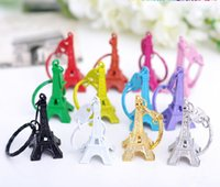 Wholesale cartoon eiffel tower paris resale online - DHL free Paris Eiffel Tower Keychain Mini Eiffel Tower candy color Keyring store advertising promotion service equipment