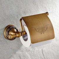 Wholesale brass toilet tissue holder - High Quality Brass Wall Mounted Antique Bathroom Toilet Paper Roll Holder Flower Print Toilet Paper Tissue Towel Storage Rack