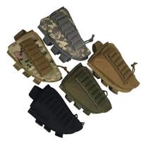 acciones de rifles al por mayor-Táctico Rifle Escopeta Gluteos Reposo Mejillas Rifle Stock Shell Nylon Revista Molle Holder Pouch