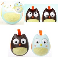 Wholesale Owl Baby Doll - Cute Baby Roly-poly Toys Nodding Moving Eyes Owl Doll Baby Rattles Gifts Baby Tumbler With Bell Toys For Children YYA1059