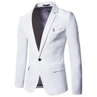 Wholesale Host M - 2018 New Men's White One Button Casual Business Suit Korean Slim Youth Banquet Wedding Dress Host Suit Tide