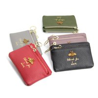 Wholesale american head dress - 2018 new European and American honeybee ladies head leather zipper coin purse leather keychain mini coin bag