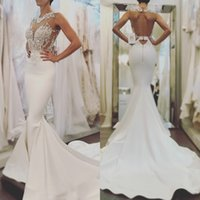 Wholesale Elegant Dress Top - 2018 Babyonline Elegant White Mermaid Wedding Dresses Backless Sheer Neck Sexy Appliques Fitted Top Sweep Train Bridal Gowns