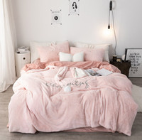 ingrosso biancheria bianca rosa grigia adulta-Rosa bianco grigio principessa tessuto in pile inverno biancheria da letto di spessore morbido cristallo di velluto copripiumino lenzuolo / lino federe