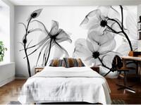 ingrosso pareti bianche fiori neri-Black White flower 3D Abstract Photo Mural Rivestimenti murali Sfondi Murales Carta da parati Rotolo Camera da letto Decorazione della parete Personalizzata Qualsiasi dimensione