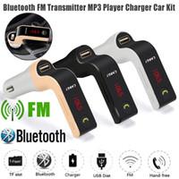 micro manos libres bluetooth al por mayor-Original G7 Coche Inalámbrico Bluetooth MP3 Transmisor FM L Modulador de diseño 2.1A Cargador para auto Kit inalámbrico Soporte para manos libres Micro SD TF DHL