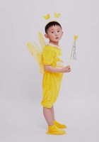Wholesale butterfly clothing for sale - 2018 New style children Cosplay Red cock Red yellow butterfly clothing Boys and girls Dance Conjoined clothes
