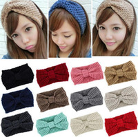 Wholesale bow wool headband - Women Bow Knit Wool Headband Fashion Girl Warm Woolen Crochet Turban Handmade Bow Knot Wide Head Wrap 300pcs OOA4368