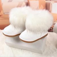 lana de piel de conejo al por mayor-Botas para niños Invierno Cálido paño de lana con suave siesta de pelo de conejo Piel Suela de goma Botas de nieve para niños Zapatos de niños para niñas Botas