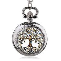 часы для женщин серебристый оптовых-Fashion Silver Stainless Steel Tree Of Life Chain Luminous Pocket Watch Necklace Women Jewelry Glowing Pendant Chain