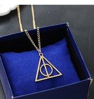 Wholesale death pendants - HOT NEW 10 PCS FREE SHIPPING Harry and Potter Necklace Luna's death Saint triangle Round Pendant Retro