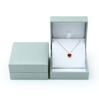 ingrosso grandi scatole di anello-Anello grande tono blu Scatola bianco inserto in cuoio falso Anelli gioielli collane ciondolo Confezioni regalo Scatole portagioie