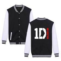 chaqueta de béisbol de rock al por mayor-Suéter para hombre Rock Unisex Streetwear One Direction 1D Chaqueta de impresión Nuevo Casual Loose Uniforme de béisbol Grueso contraste Color Coat A0115