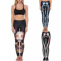 caneleiras de impressão óssea venda por atacado-Esportes LeggingsWomen's Bone Impressão Leggings de Fitness Yoga Correndo Stretch Calças Esportivas Calças desgaste para mulheres ginásio joggIng