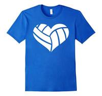 maschine zum drucken von hemden großhandel-Gedruckt Shirts mit Rundhalsausschnitt Volleyballer Herz Druckmaschine Herren-T-Shirts