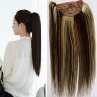 cola de caballo de pelo remy indio al por mayor-4/613 Resalte el clip indio de la Virgen en el cabello humano Ponytail 100g Extensiones Remy rectas de cabello de 18 pulgadas