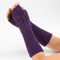 модные рукавицы с длинными рукавами оптовых-New fashion Women Winter Arm Warmers Cashmere Fingerless Long Gloves Solid Warm Mittens Elbow Thread Knitted Sleeves Glove