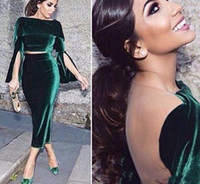 Wholesale Ankle Bones Pictures - 2018 Green Two Pieces Vintage Velvet Prom Dresses Bateau Neck Sheer Back Long trumpet Sleeves Ankle-Length Evening Dresses Party Dresses