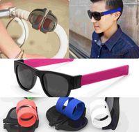 Wholesale men slapping women - Sun Glasses women Slap Sunglasses Men polarized Slappable Bracelet Wristband Fold Shades Fashion Mirror Oculos Colorful GGA134 50PCS