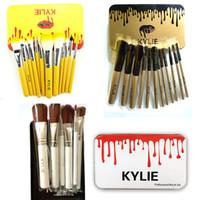 Wholesale cosmetic beauty boxes - Kylie Makeup Brushes 12 pcs set Professional Eyeshadow Brush Set Foundation Powder Beauty Tools Cosmetic Brush Kits with Retail Box