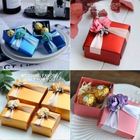 wholesale big paper flowers Australia - Wedding Favors Gift Boxes with Flowers Big Paper Wedding Favour Chocolate Candy Box Gold Pink Red Blue Colors Party Supplies