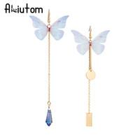 mariposa de oro jade al por mayor-ALIUTOM Nuevo 1pc colorido mariposa pendientes de cadena larga de oro encanto geométrico pendientes mujeres 2 estilos