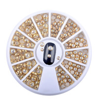 стикеры жемчуга ногтей оптовых-Nail Frame Pearl Mermaid Colorful Half Round Pearls Metal Rhinestone DIY Nail Art Flat  Decoration Glitter 3D Sticker