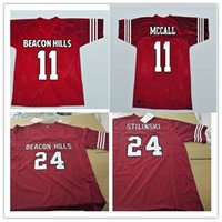 Wholesale Wolves Jersey - Mens Teen Wolf Football Jerseys stitched Red #11 TScott McCall #24 Stiles Stilinski Teen Wolf Beacon Hills Lacrosse Film Jersey Size S-3XL