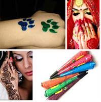Wholesale temporary indian tattoos for sale - Indian Henna Tattoo Paste Women Makeup Mehndi Body Art Paint Drawing Temporary Natural Plant Pigment Henna Cones