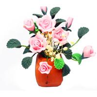 Wholesale Flower Pottery - 1:12 Dollhouse Miniature DIY Garden Clay Flowers Arrangement Pink Rose Red Pottery Basin Plant Mini Decor Toys For Dollhouse