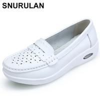 ingrosso puro scarpe sole-SNURULANTempo donna Pure bianco e nero Piattaforma morbida Suola intera Infermiera scarpe donna cuscino d'aria scarpe genuine E381