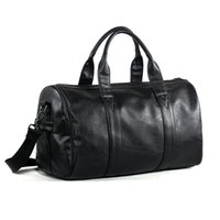 Wholesale free bag designs - Free Shipping Popular Design PU Leather Weekend Duffel Bag Portable Highcapacity Men's Leisure Business Travel Bag Black Handbag