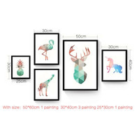 Wholesale giclee poster - Watercolor Geometric Animals Abstract Canvas Art Print Painting Poster, Giclee Print Wall Pictures For Living Room Kids Room