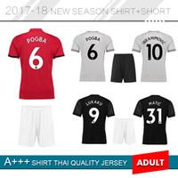 Wholesale U S Shorts - POGBA Man U 17 18 soccer jerseys LINDELOF RASHFORD Ibrahimovic MKHITARYAN LUKAKU jersey men kits united home away football shirts
